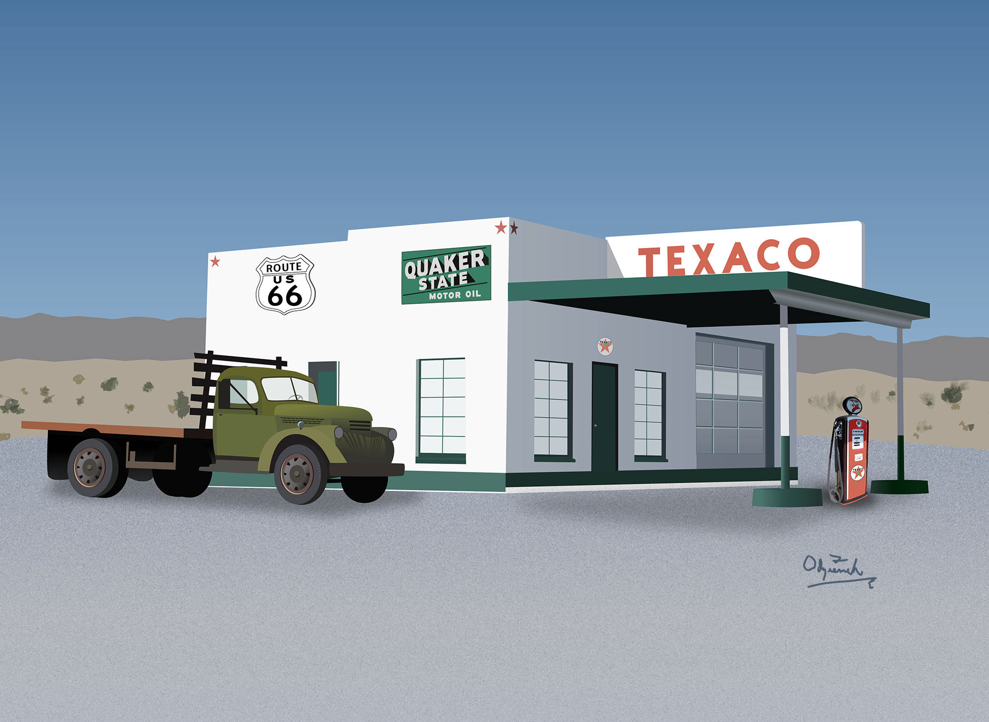 Odziemek Needles Texaco Station Illustration